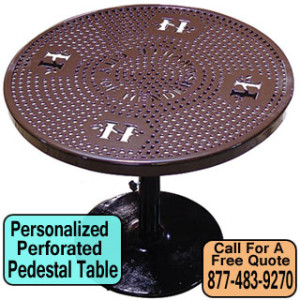 Personalized Perforated Pedestal Table For Sale Cheap Discount Prices