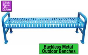 Backless Metal Outdoor Benches For Sale In Austin, San Marcus & San Antonio Texas